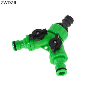 Irrigation Y connectors 2 way tap garden tap Irrigation valve Hose Pipe Splitter 2 Way Quick connector adapter 1pcs(China)