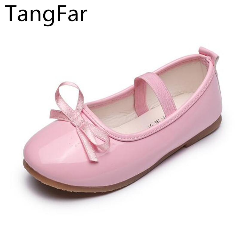 New Girls Princess Bowtie Fashion Shallow Mouth Children Mary Jane Loafers Soft Bottom Red Kids Patent Leather Shoes
