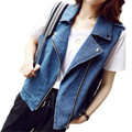 2016 Chaleco de Mezclilla de Las Mujeres Jeans de Manga Negro de la Cremallera Del Chaleco Chalecos Abrigo de prendas de Vestir Exteriores Ocasional ZMF789642