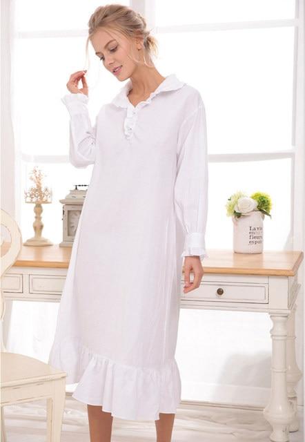 Long White Nightgown Dress Long Sleeve Cotton Ruffles Dressing Gowns
