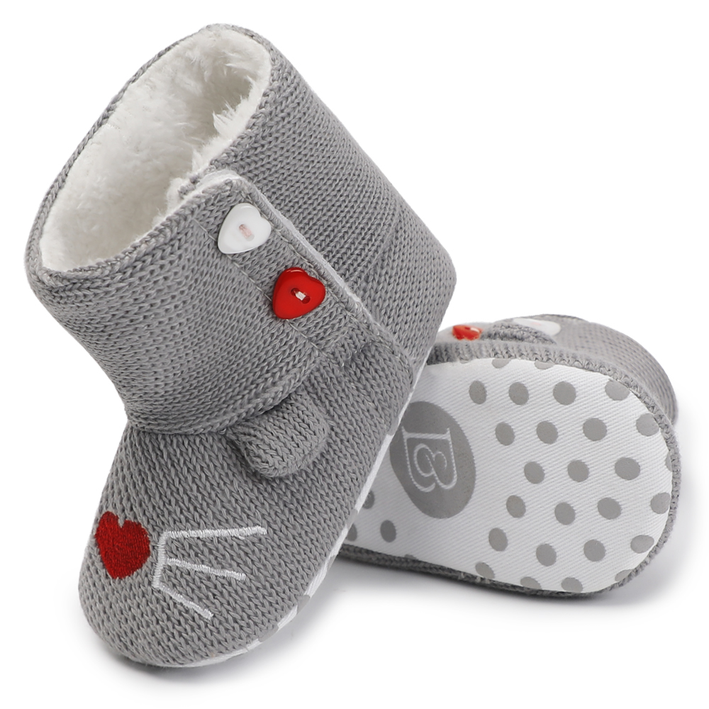 Fleece Leather Warm Baby Booties Winter Baby Shoes Newborn Non-Slip Soft Soled Moccasins Kids Footwear First Walkers