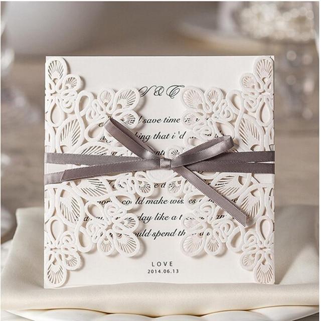 3 Pcs Exquisite Weiß Silk Spitze Hochzeit Einladungen Hochzeit