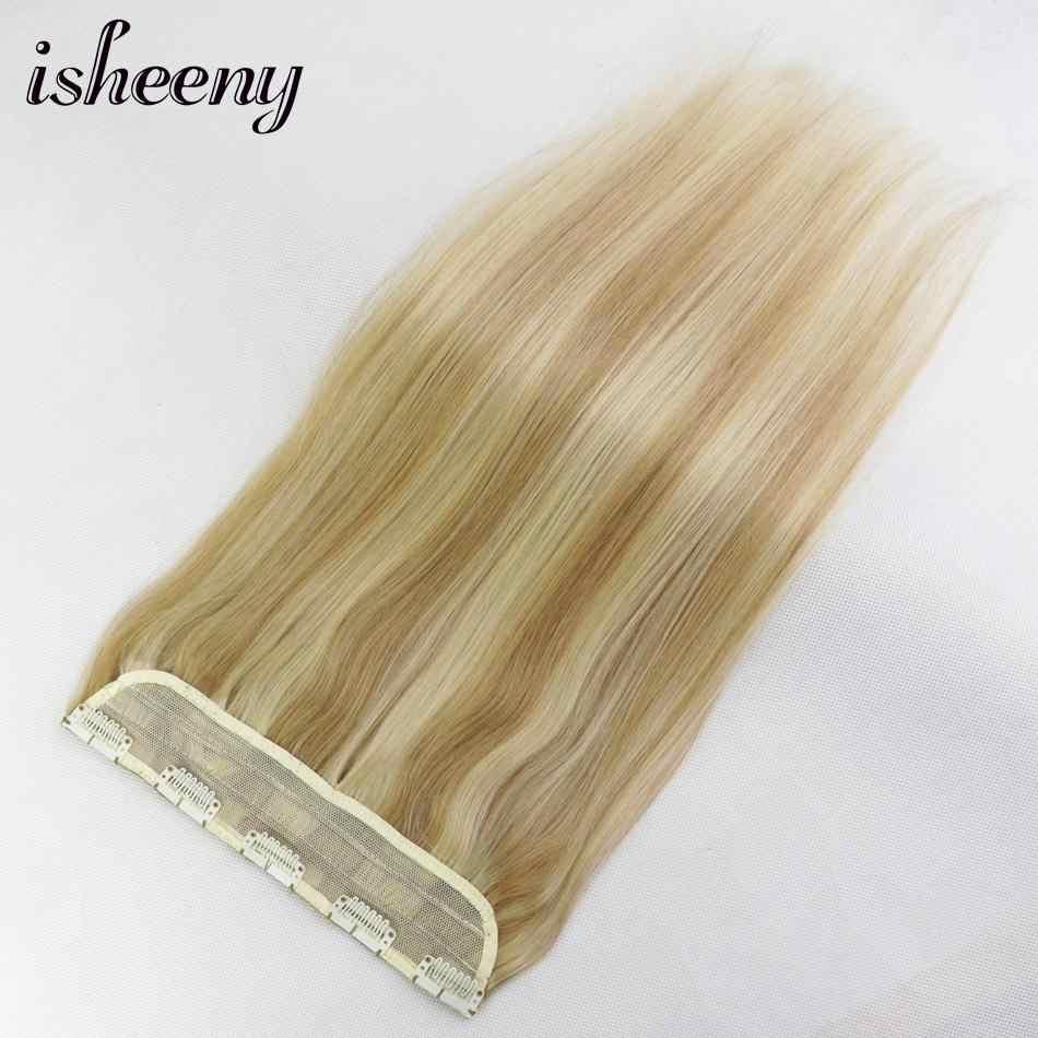 """Isheeny 14 """"18"""" 22 """"1 шт. бразильские заколки для волос Tic Tac 5 клипов Реми волосы кусок Прямой зажим в человеческих волос расширение"""