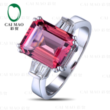 CaiMao 2.35ct Natural Pink Tourmaline & 0.30ct Diamond 18k Yellow Gold gemstone engagement ring Fine Jewelry