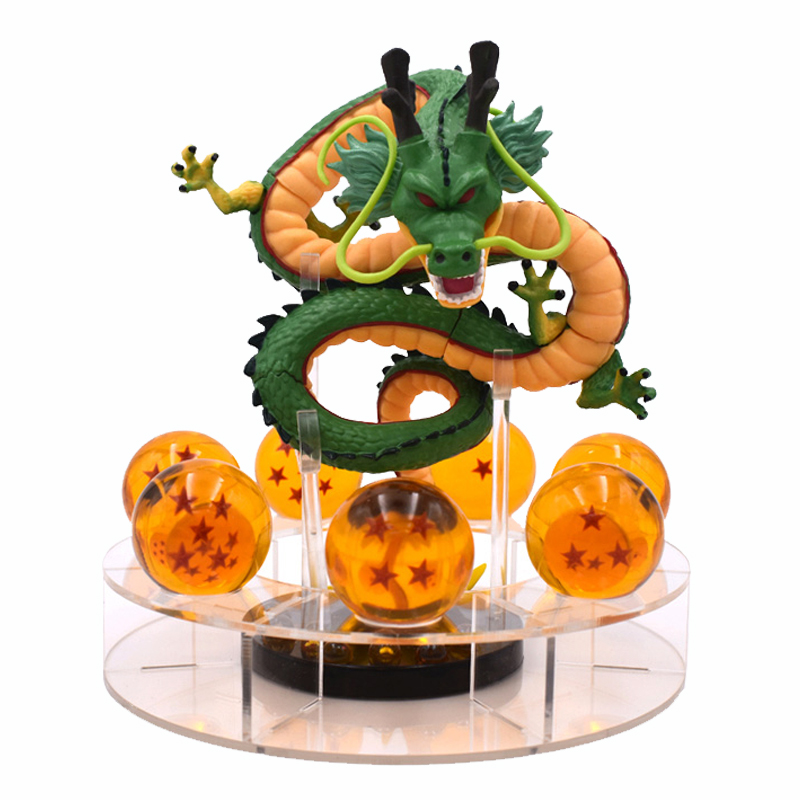 15cm Dragon Ball Z Action Figure Green Gold Shenron And 7pcs Dragonball Balls+Shelf Figures Set Collectibal Model DBZ