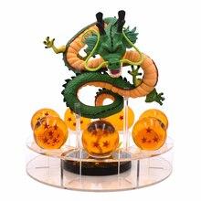 15cm figura de ação verde ouro e 7 peças bolas + prateleira figuras conjunto collectibal modelo dbz