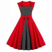 Comwarm Elegant Vintage Women Stylishly Polka Dot Rockabilly Bodycon Patchwork Dresses 50s Sexy Retro Party Tunic