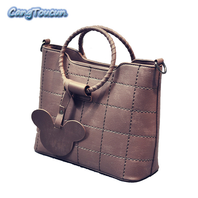 Cangtoucun Solid Women Leather Handbags High Quality Tote Bag Top Handle Bags Woman Shoulder
