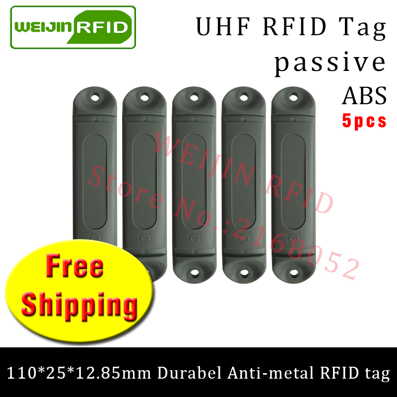 UHF RFID metal tag 915mhz 868m M4QT EPC 110*25*12.85mm 5pcs free shipping durable ABS Material rack smart card passive RFID tags стекло размер 1470 915 4 тольятти цена