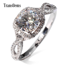Wedding rings round brilliant cut 1.5 Carat Lab Grown Moissanite Diamond with Diamond Accents White Gold ring for Women