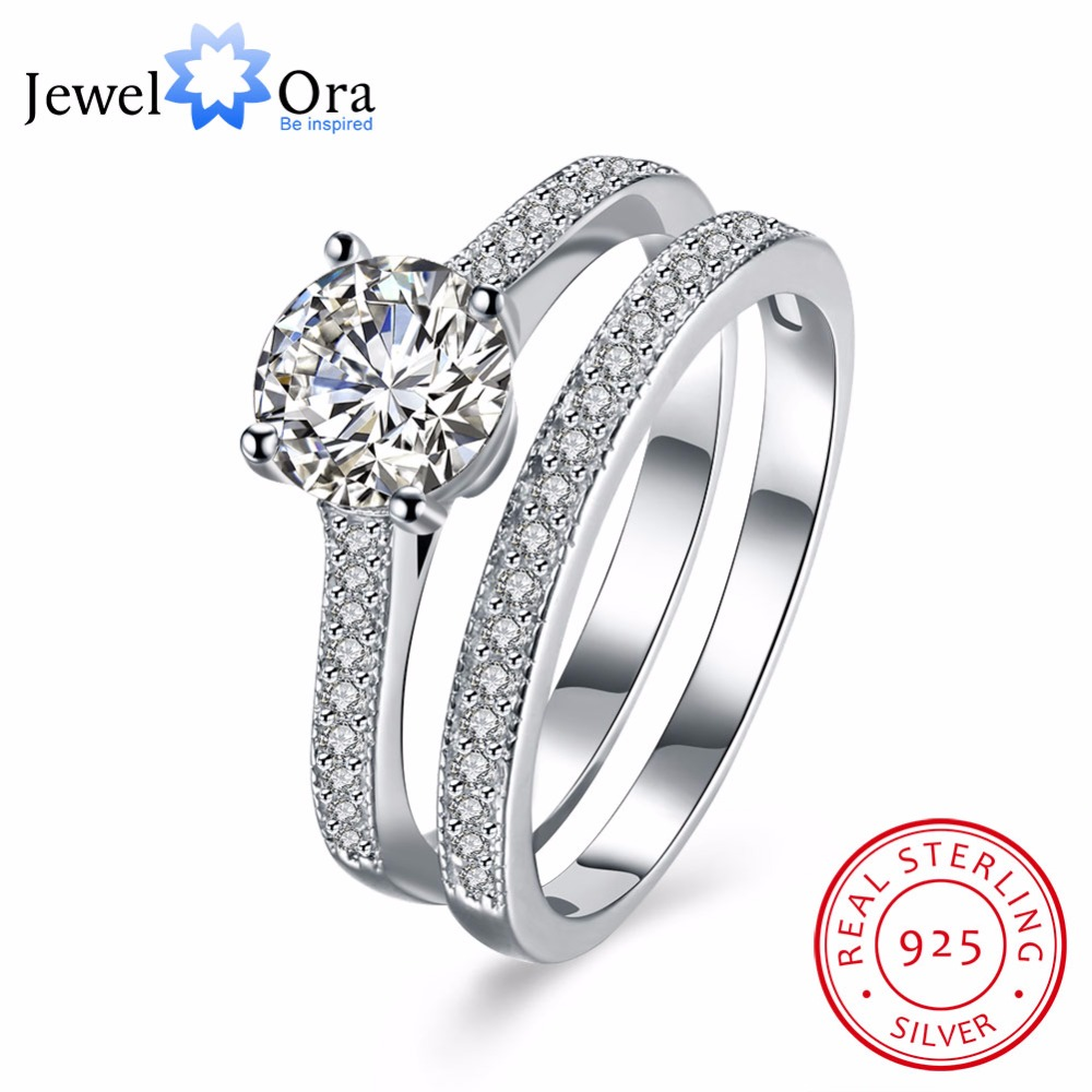 925-Sterling-Silver Jewelry Engagement Women Fashion Rings Gift Anniversary Classic CZ