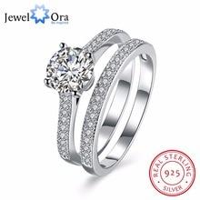 Твердые 925 пробы серебряные кольца наборы обручальные ювелирные изделия классические CZ Модные кольца для женщин Подарок на годовщину(JewelOra RI102620
