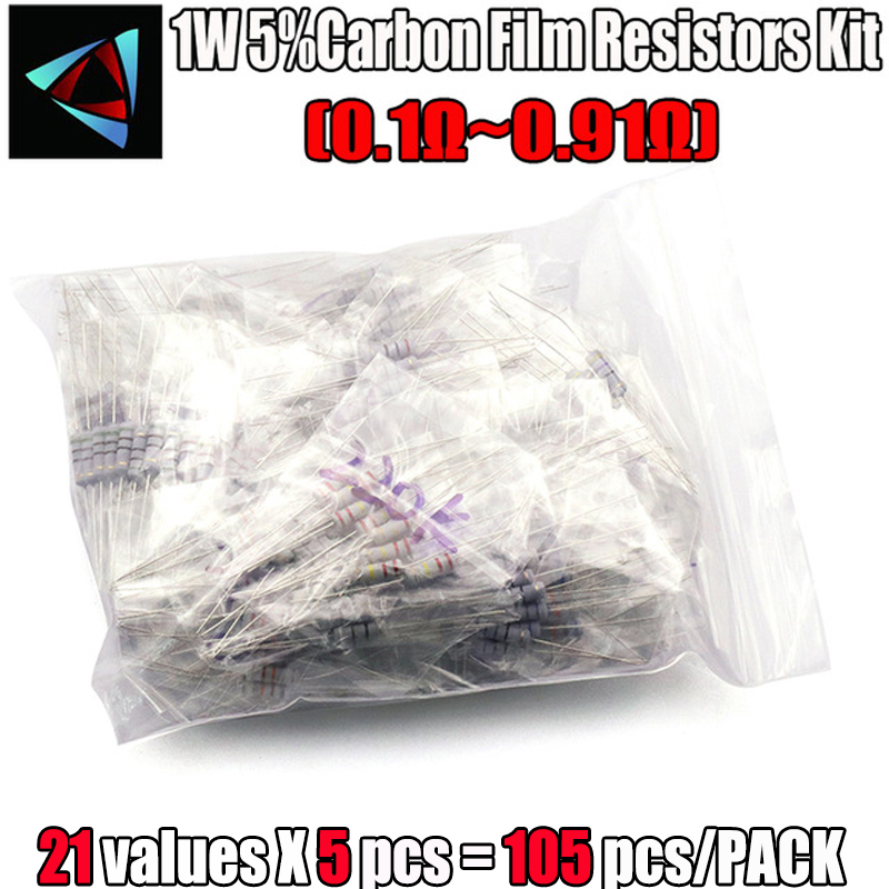 0.1-0.91 Ohm 1W 5% DIP Carbon Film Resistor,21valuesX5pcs=105pcs, RESISTORS Assorted Kit,  Metal Oxide Film Resistors