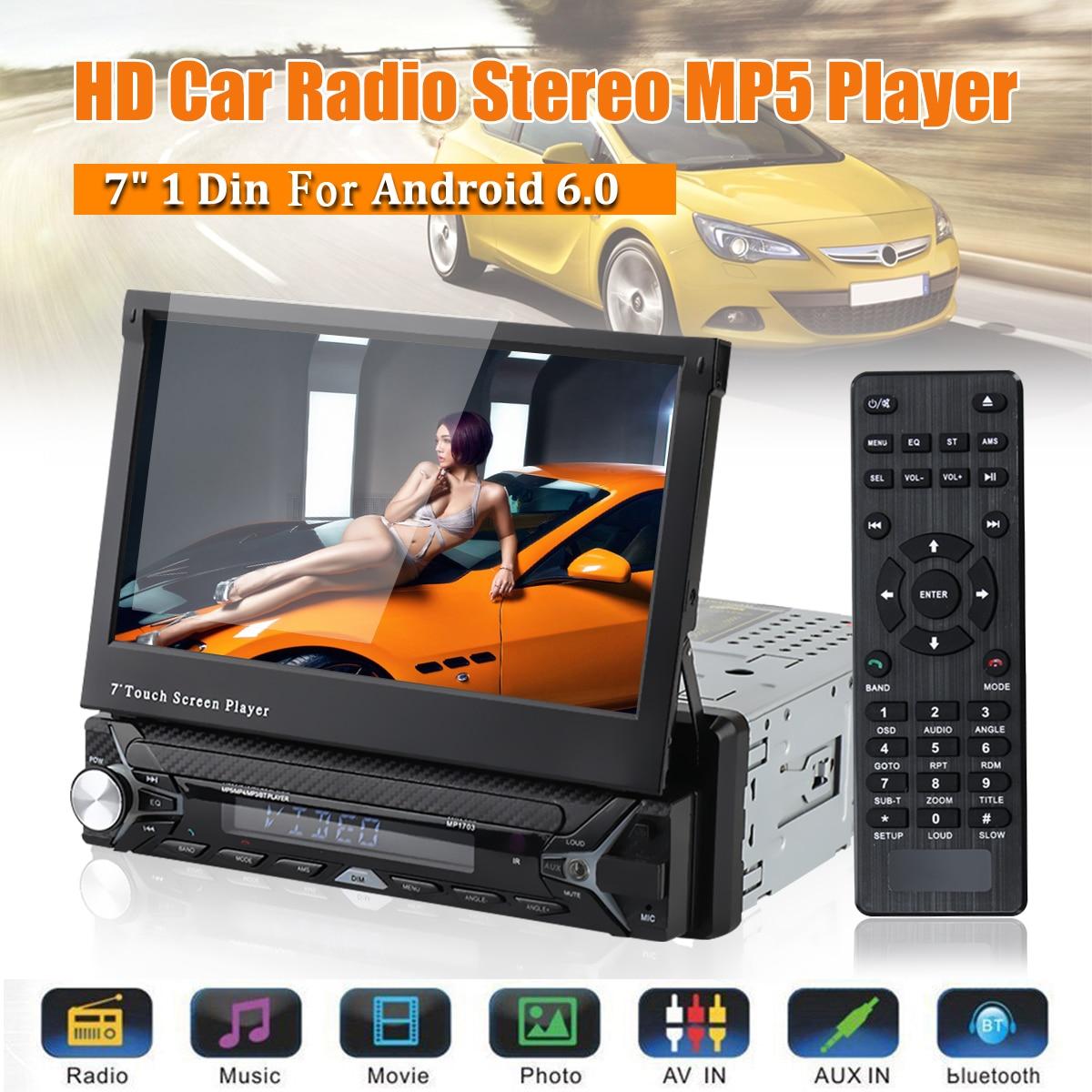 Lecteur multimédia de voiture autoradio 7 pouces 1 Din Quad Core Android 6.0 lecteur de voiture WIFI GPS lecteur stéréo bluetooth Radio Indash