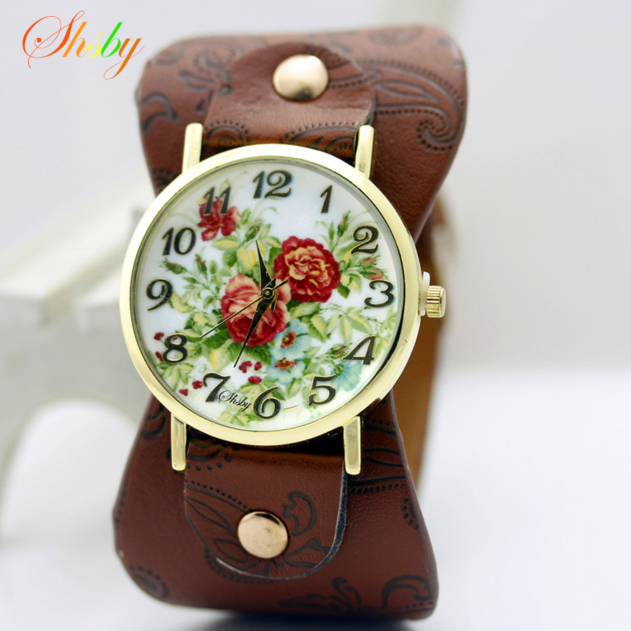 shsby Gedrukt leer Armband Polshorloge Wijde band damesjurk Horloge kleurrijke bloemen shsby Dames Casual Bekijk het meisje cadeau