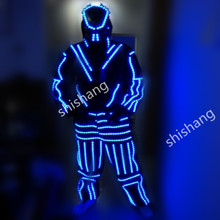 HH815 With mask Men LED light costumes suit clothes ballroom dancing dj disco party bar stage show supplies/led luminous