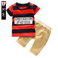 KW Brand Colorful Striped Baby Boys Clothing Sets 2017 Summer Casual Kids Clothes Short T-shirt Pants Boys Sport Suit