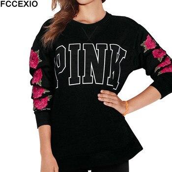 FCCEXIO 2019 kobiety różowy miłość T koszula jesień luźna koszulka topy kwiat liście list drukuj okrągły Neck Rose koszulka z długim rękawem