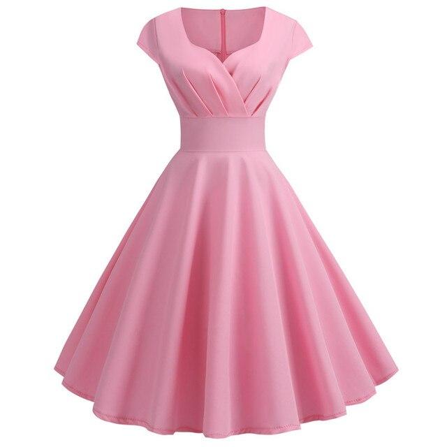 Women Summer Dress 2019 Solid Color Retro Vintage 50s 60s Casual Party Office Robe Rockabilly Dresses Plus Size Vestidos 2