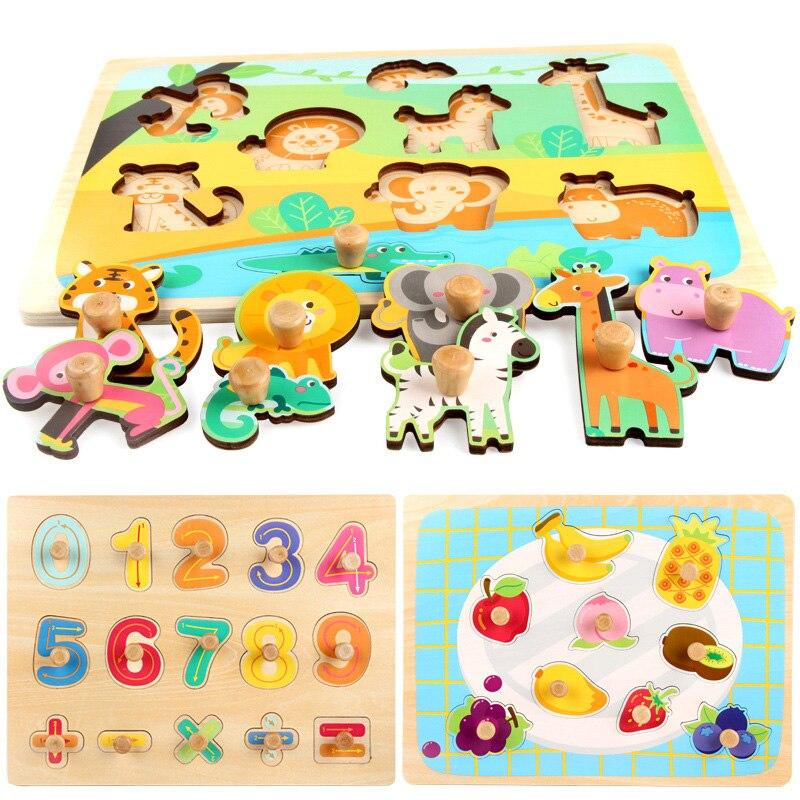 30 CM jouet en bois Puzzle Éducatifs Bébé Enfants Formation Jouets Pour Enfant Fruits Gâteau de Légumes Puzzles Jouet Jigsaw