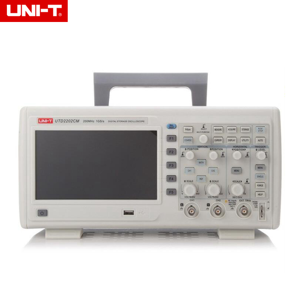 UNI-T UTD2202CM <font><b>200MHz</b></font> 1GS/s 2 Channels 16Mpts Desktop <font><b>Digital</b></font> <font><b>Oscilloscopes</b></font> 7-inch TFT LCD image