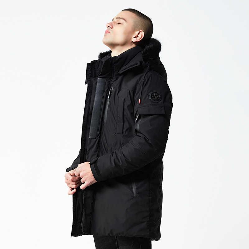 Новинка 2018 года; теплая верхняя одежда больших размеров; зимняя куртка для мужчин; ветрозащитные парки с капюшоном; брендовая одежда