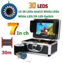 Двойная лампа GAMWATER 30 светодиодный s 7 дюймов 15 м 30 м 50 м 1000TVL рыболокатор подводная рыболовная камера 15 шт. Белый светодиодный s+ 15 шт. ИК светодиодный