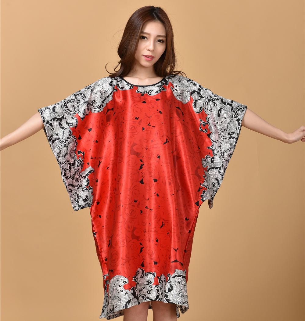New Style Chinese Womens Faux Silk Bath Robe Gown Vintage Kimono Kaftan Gown Summer Casual Nightgown Sleepwear One Size S002-A