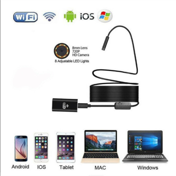 WIFI Endoscope 2MP 8mm Borescope Inspection Camera IPhone Android PC 1M 720p