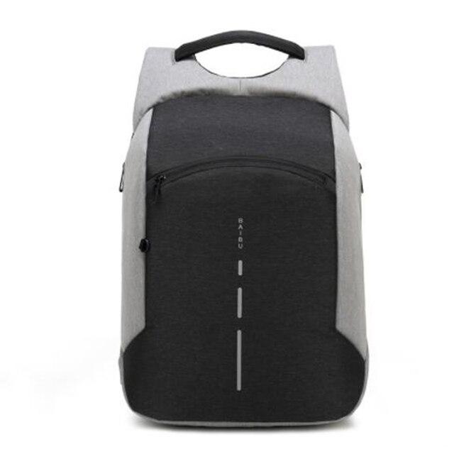 60b0abf499b1 US $27.19 43% OFF|BAIBU New Anti theft Backpack Fashion 15.6inch USB Charge  Laptop Backpack Men Travel Backpack Waterproof School Bag Male Mochila-in  ...