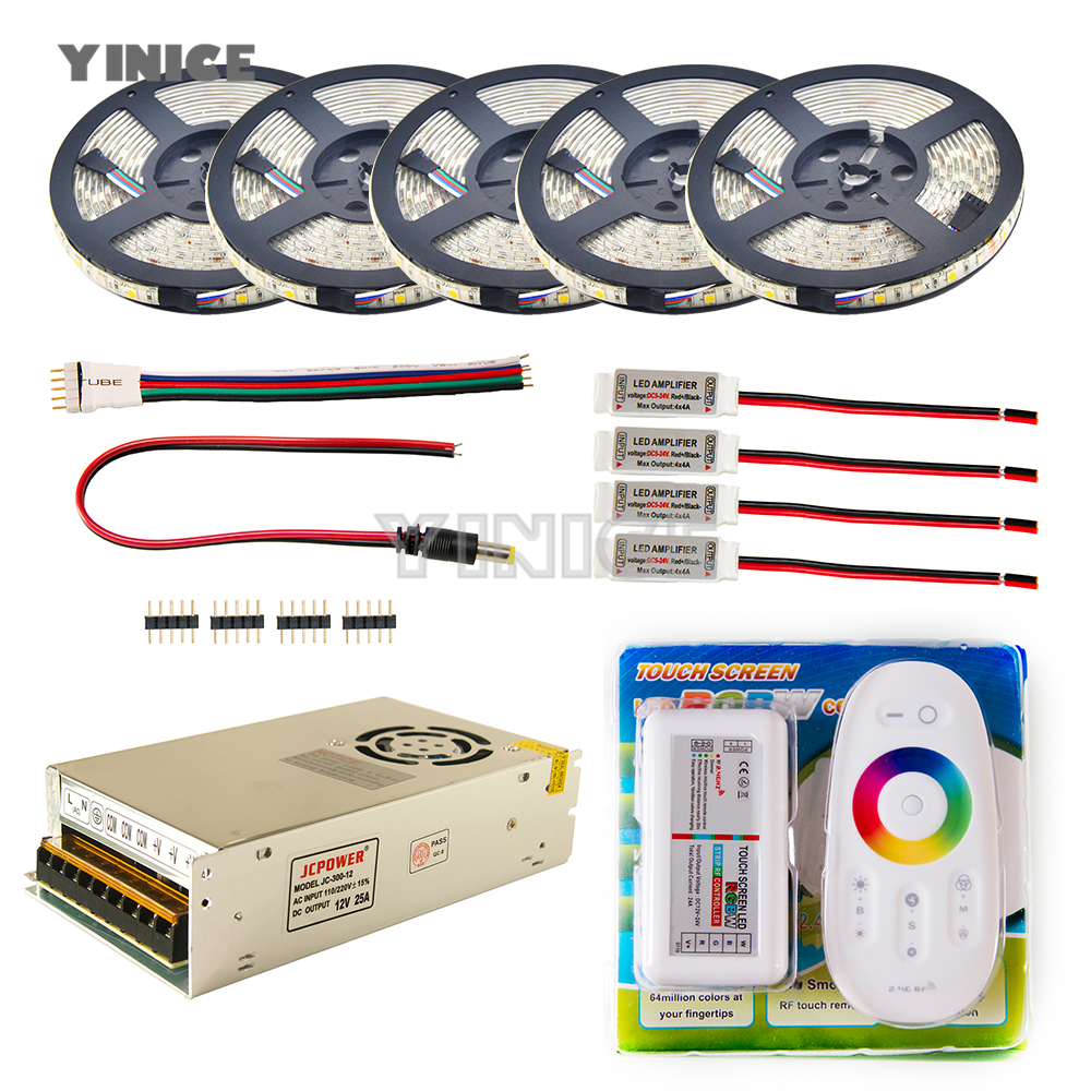 LED Strip set 5m 10m 20m 30m 110v/220v to 12V RGB RGBW Waterproof 5050 Flexible 300led diode tape LED Rope Ribbons Amplifier Kit dc12v 5050 led strip waterproof rgb rgbw led light flexible tape touch remote controller 12v power adapter kit 30m 20m 10m 5m