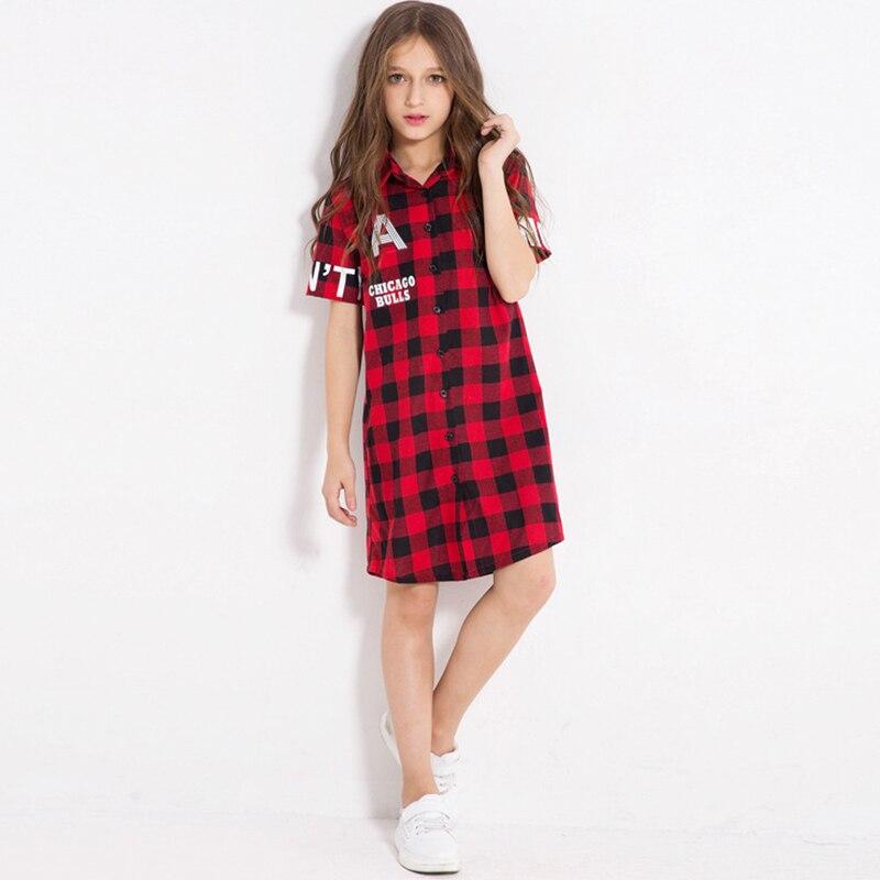 ca284d0028c Girls Shirt Dress Red Plaid Children s Dresses Letters Printed Long Style  Blouses Big Child Children s Summer