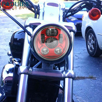 FADUIES Red 5 3/4 5.75 inch Round High Low Beam LED Headlight for Harley Motorcycles Led Headlamp