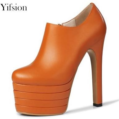 Olomm Women Platform Pumps Cow Leather Sexy Square High Heels Pumps Round Toe Black Orange Grey