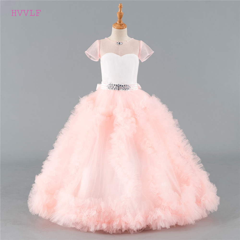 Pink 2019 Flower Girl Dresses For Weddings Ball Gown Cap Sleeves Tulle Ruffles Crystals Long First Communion Dresses Little Girl