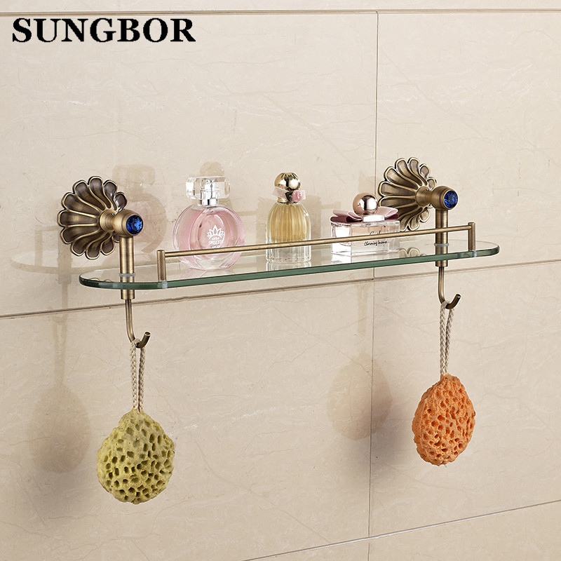 Bathroom Shelves Cosmetic Shelf Towel Rack / Bar Antique Classic Bathroom Accessories Wall Mounted Chrome Glass Rack HY-2313F 60cm oil rubbed bronze bathroom shelves towel racks black european antique copper storage rack shelf with hooks wall mounted