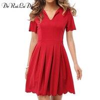 DeRuiLaDy Women Spring Summer Dress V Neck Short Sleeved Pleated Petals Wave Side Dresses Casual Clothing
