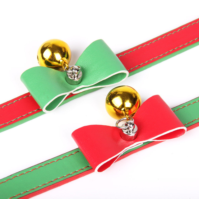 Quality Leather Pet Dog Collar With Bell  Cute Bow Christmas Small Dog Collars Cat Necklace Leash for Medium Dog Puppy Collar  2