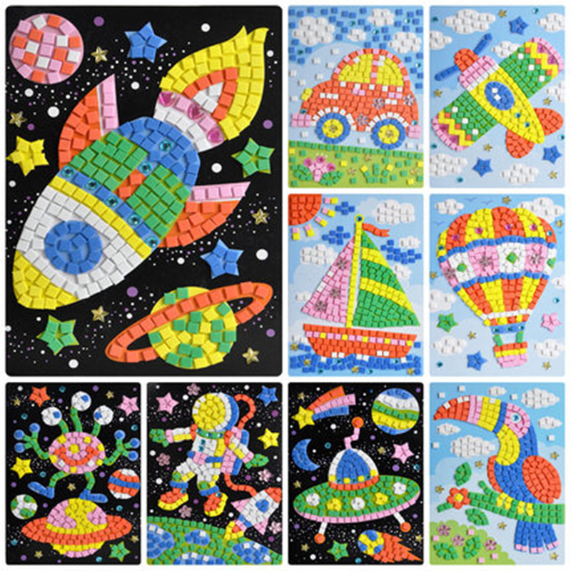 24 Colors 3D Children Puzzle DIY Foam Mosaic Stickers Art EVA Cartoon Crystal 3D Sticker Creative Educational Toys For Kids Gift