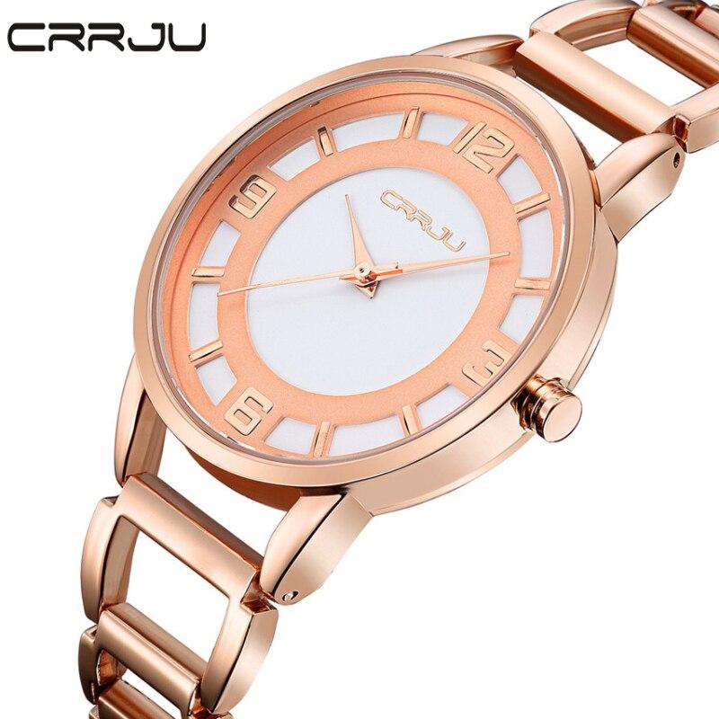 Prix pour Haut De Luxe marque CRRJU Mode Femmes Montres Bracelet En Acier Inoxydable Quartz-montre Ultra Mince Cadran Horloge Femme Relogio Masculino