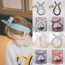 Professional 12Colors Lovely Sweet Chiffon Rabbit Ears Bowknot Brief Hair Bands Headbands Lattice Printing Styling Accessory