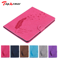 TopArmor Luxury PU Leather Feather Style Case for iPad 2 3 4 Vintage Flip with Card Slots Stand Cover for iPad2 New iPad3 iPad4