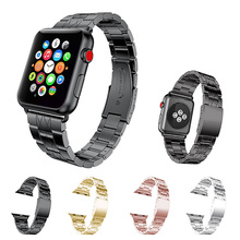 Grid Pattern Stainless Steel Strap For Apple Watch Band 40mm 44mm Wristband Link Bracelet Belt For