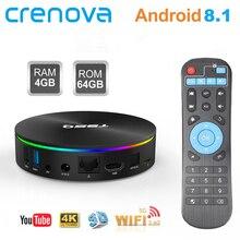 CRENOVA Android 8,1 caja de TV S905X2 4 GB 32 GB 64 GB soporte 2,4G 5,8G Dual Wi Fi Bluetooth T95Q 3D Set top box 4 K Dispositivo de TV inteligente