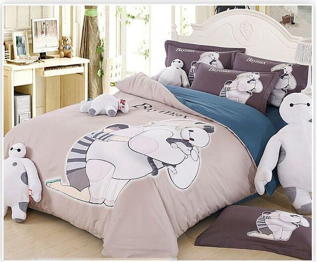 100 organic cotton bed linen big hero baymax bedding set anime bed