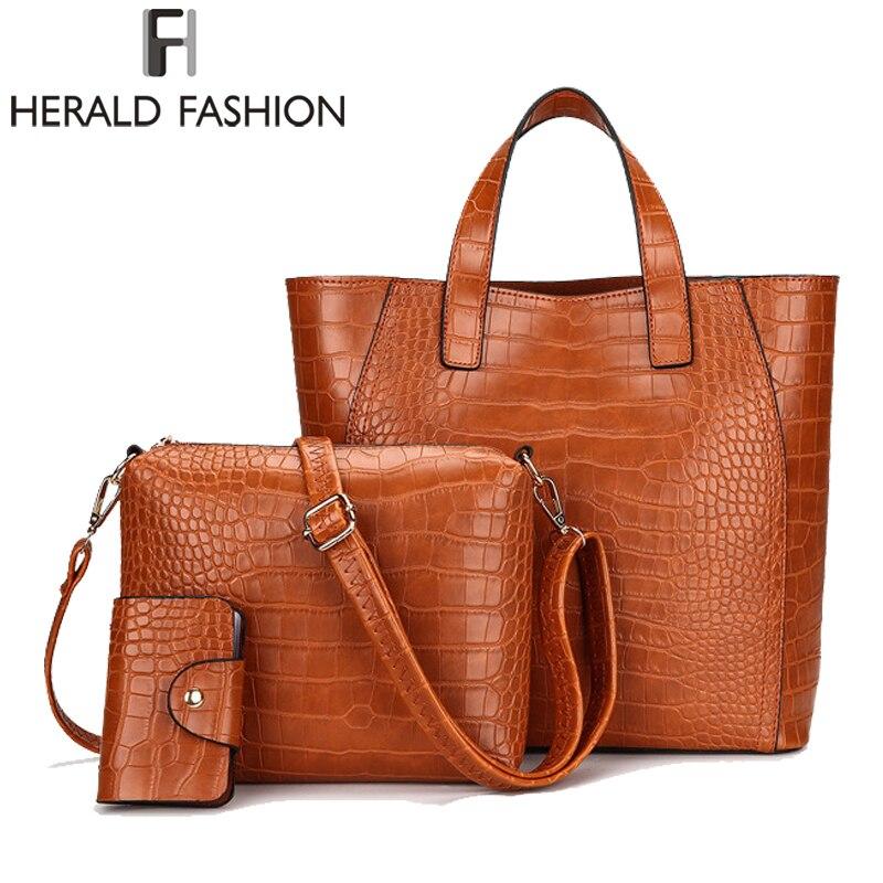 Herald мода камень узор Для женщин сумки 3 шт./компл. Композитный сумка на плечо из искусственной кожи сумка повседневная сумка