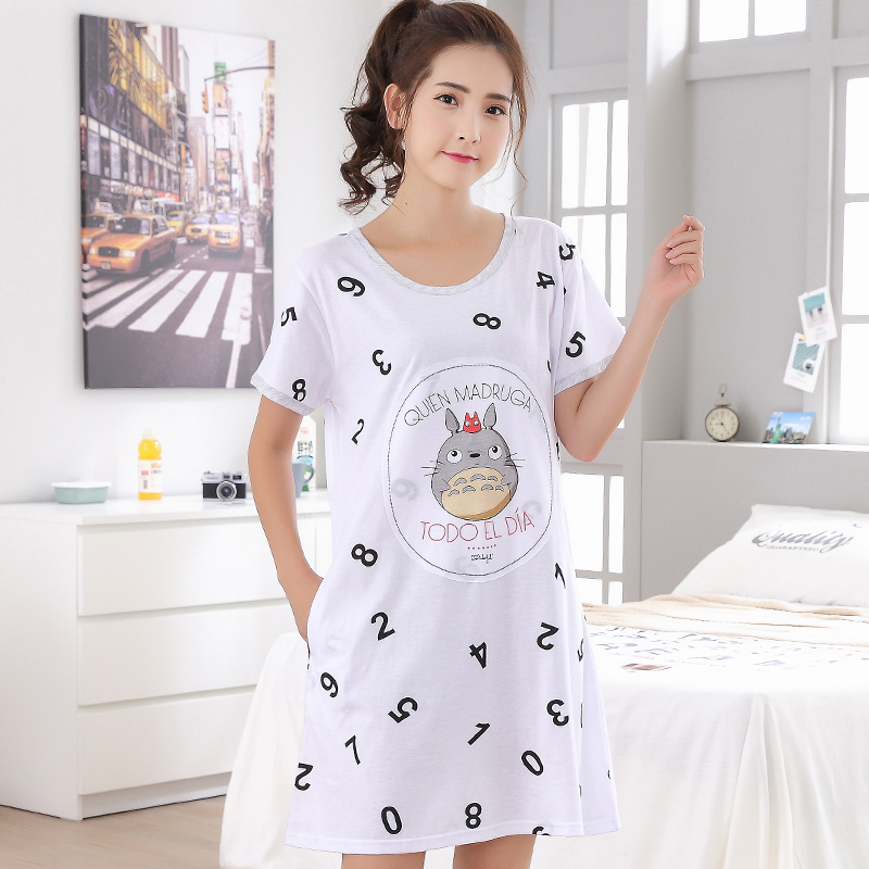 Brand Summer Cotton   Nightgown   Women Sweet Girl Lounge Nightdress Cartoon Sleepwear Short Sleeve Casual   Sleepshirts   3XL Clothing