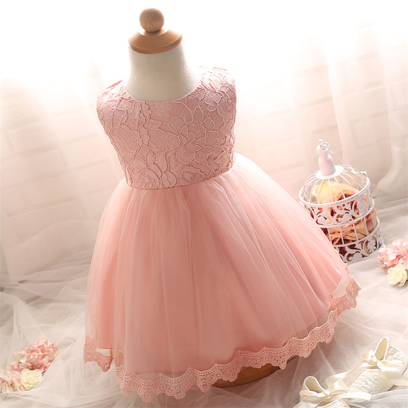 Lace girl wedding dresses for newborn baby girl party for Wedding dresses for baby girls