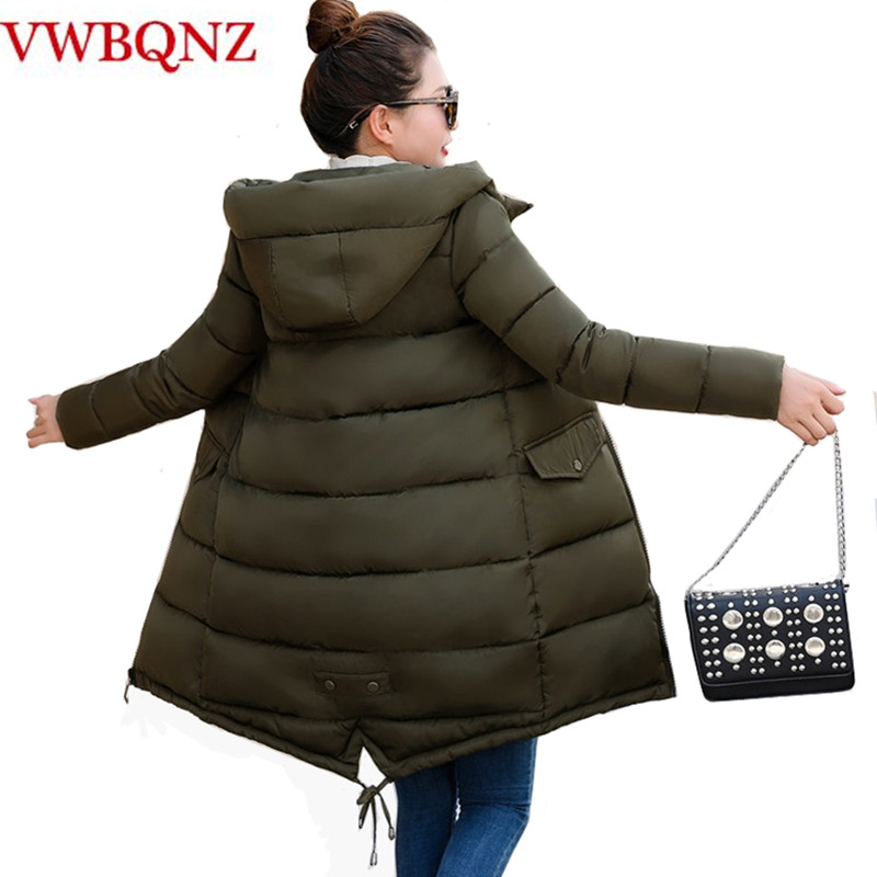 Women Hooded Coat Slim Down Cotton Padded Jacket Coats Female Long Down   Parkas   Outwear New Fashion Winter Jackets Coats A952