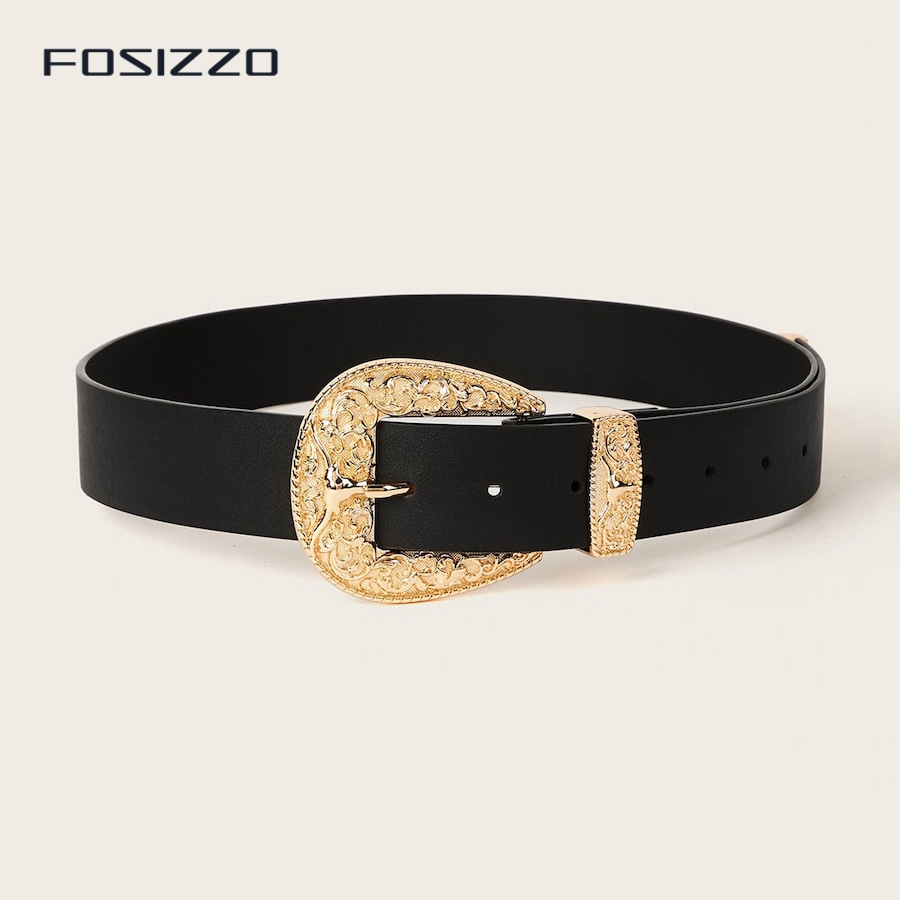 FOSIZZO Unisex Western Tooled Full Grain Leather Jean Belt Black 1.5